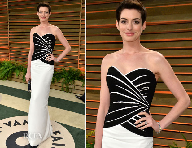 Anne Hathaway In Viktor & Rolf - Vanity Fair Oscar Party 2014