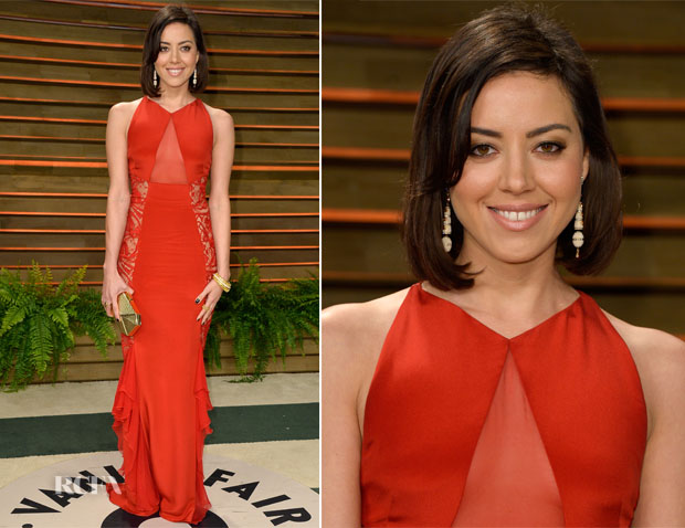 Aubrey Plaza In Emilio Pucci - Vanity Fair Oscar Party 2014