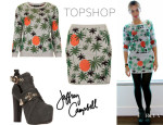 Beyonce Knowles' Topshop Palm Tree Lurex Sweater, Topshop Palm Tree Lurex Skirt And Jeffrey Campbell 'Litrane' Platform Boots