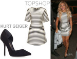 Beyonce Knowles' Topshop Satin Stripe A-Line Dress And Kurt Geiger London 'Anja' Pumps