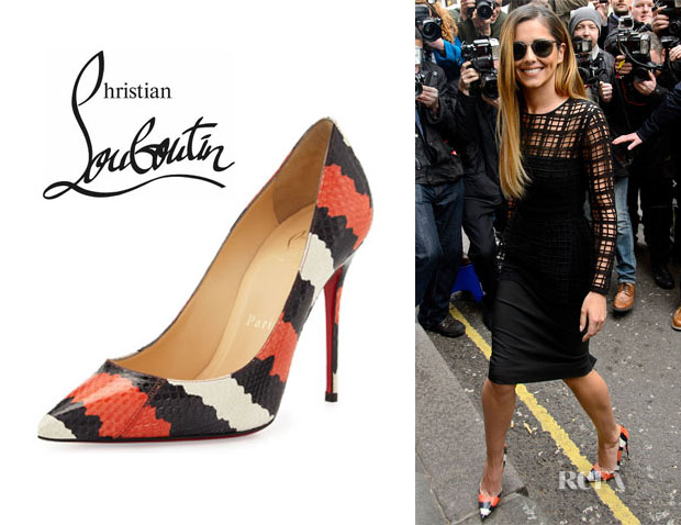 Cheryl Cole's Christian Louboutin 'Decollette' Striped Snakeskin Pumps