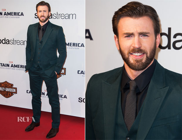 Chris Evans In Gucci - 'Captain America The Winter Soldier' Paris Premiere