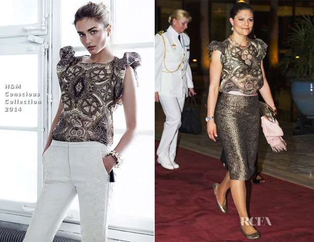 Crown Princess Victoria of Sweden In H&M Conscious Collection - Tanzania Dinner