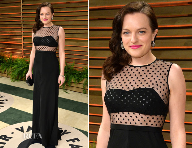 Elisabeth Moss In Houghton - Vanity Fair Oscar Party 2014