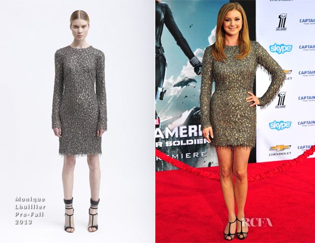 Emily VanCamp In Monique Lhuillier - 'Captain America The Winter Soldier' LA Premiere