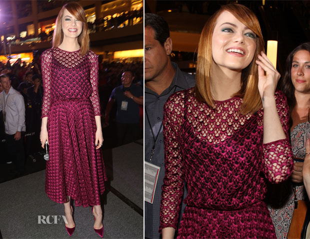 Emma Stone In Christina Dior - 'The Amazing Spider-Man 2' Singapore Fan Event