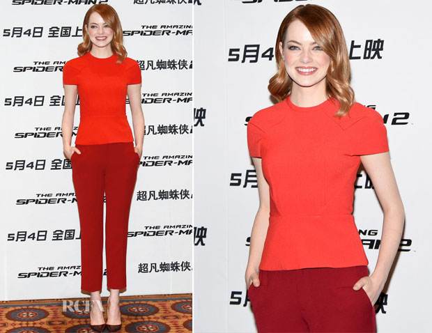 Emma Stone In Roland Mouret - 'The Amazing Spider-Man 2 Rise of Electro' Beijing Press Conference