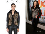 Emmy Rossum's A.L.C. 'Lee' Leather Calf-Hair Jacket
