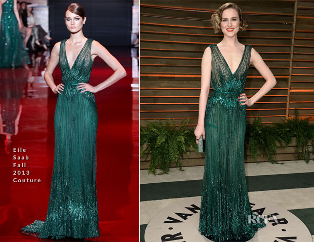 Evan Rachel Wood In Elie Saab Couture - Vanity Fair Oscar Party 2014