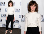 Felicity Jones In Balenciaga - 'Breathe In' New York Film Critics Series Screening