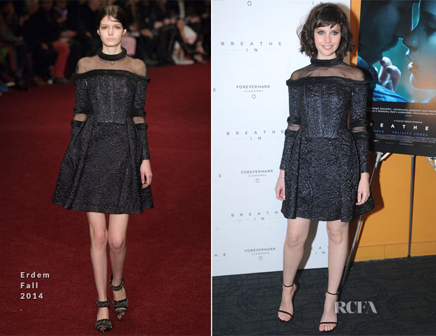 Felicity Jones In Erdem - 'Breathe In' New York Premiere