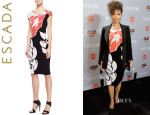 Gugu Mbatha-Raw's Escada 'Lotus' Cap-Sleeve Dress