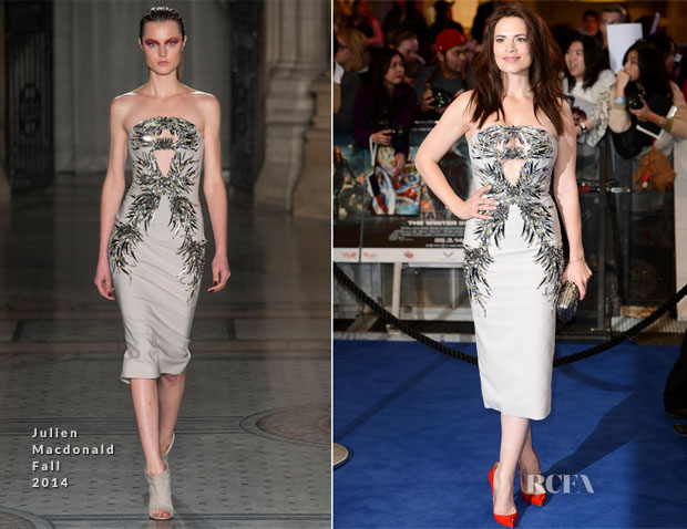 Hayley Atwell In Julien Macdonald - 'Captain America The Winter Soldier' London Premiere