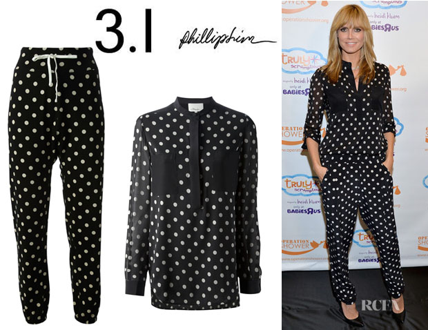 Heidi Klum's 3.1 Phillip Lim Polka Dot Printed Blouse And 3.1 Phillip Lim Polka Dot Trousers