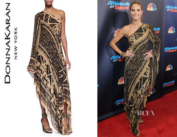 Heidi Klum's Donna Karan Embroidered One-Sleeve Printed Caftan