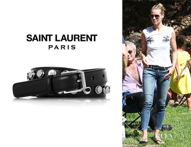 Heidi Klum's Saint Laurent Studded Leather Belt