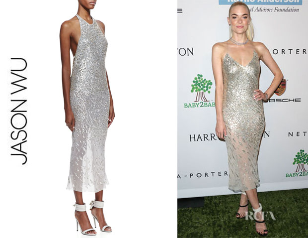 Jaime King's Jason Wu Sequined Silk Halter Dress
