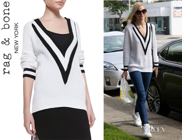 Jaime King's Rag & Bone 'Talia' Plunging V-Neck Ribbed Sweater