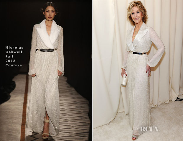 Jane Fonda In Nicholas Oakwell Couture  - Elton John AIDS Foundation Oscar Party