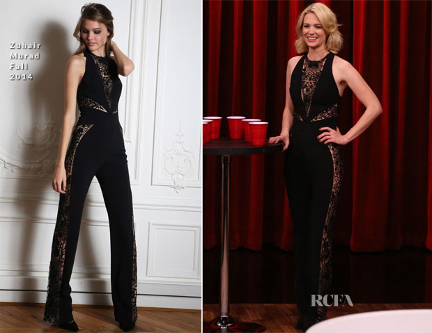 January Jones In Zuhair Murad  - The Tonight Show Starring Jimmy Fallon