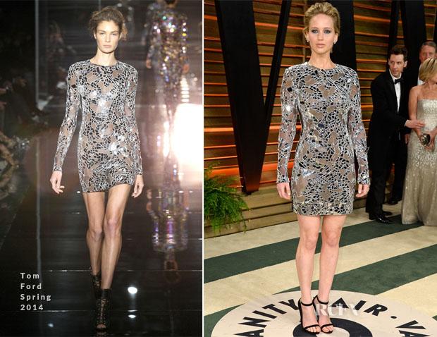 Jennifer Lawrence In Tom Ford - Vanity Fair Oscar Party ...