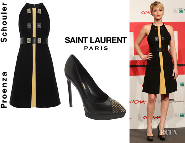 Jennifer Lawrence's Proenza Schouler Suede-Paneled Belted Crepe Dress And Saint Laurent 'Janis' Pumps