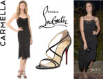 Jessica Pare's Carmella 'Jessamy' Dress And Christian Louboutin 'Gwynitta' Crisscross Sandals