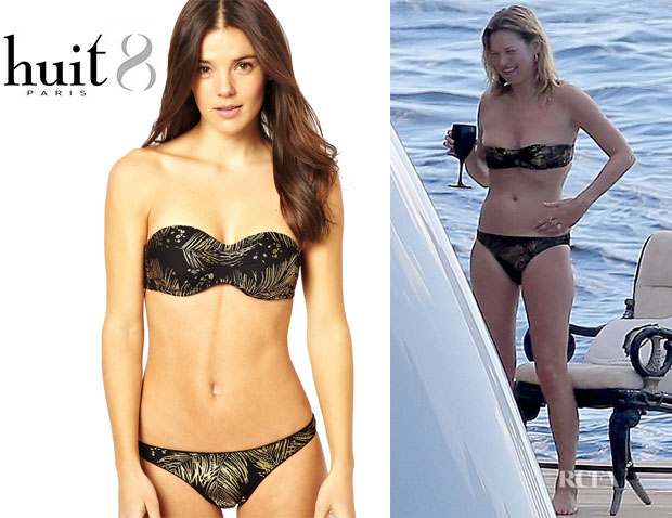 Kate Moss' Huit 'Monaco Coco' Underwire Strapless Bikini Top And Huit 'Monaco Coco' Low Waisted Bikini Bottoms