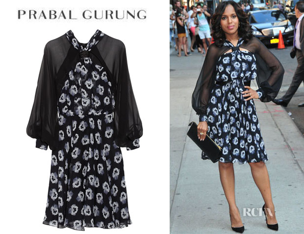 Kerry Washington's Prabal Gurung Floral-Print Silk-Chiffon Dress