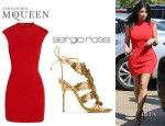 Kim Kardashian's Alexander McQueen Matelassé Stretch-Knit Mini Dress And Sergio Rossi Filigree Sandals