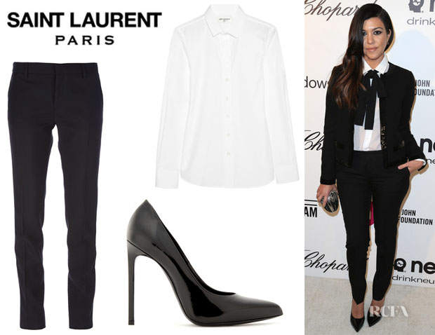 Kourtney Kardashian's Saint Laurent Cotton-Poplin Shirt, Saint Laurent Slim Fit Trousers And Saint Laurent 'Paris' Leather Pumps