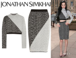 Krysten Ritter's Jonathan Simkhai Cropped Intarsia Jersey Top And  Jonathan Simkhai Intarsia Jersey Pencil Skirt
