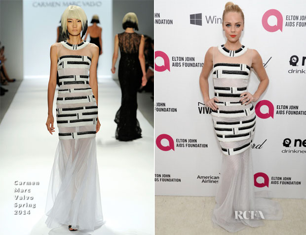 Laura Vandervoort In  Carmen Marc Valvo - Elton John AIDS Foundation Oscar Party
