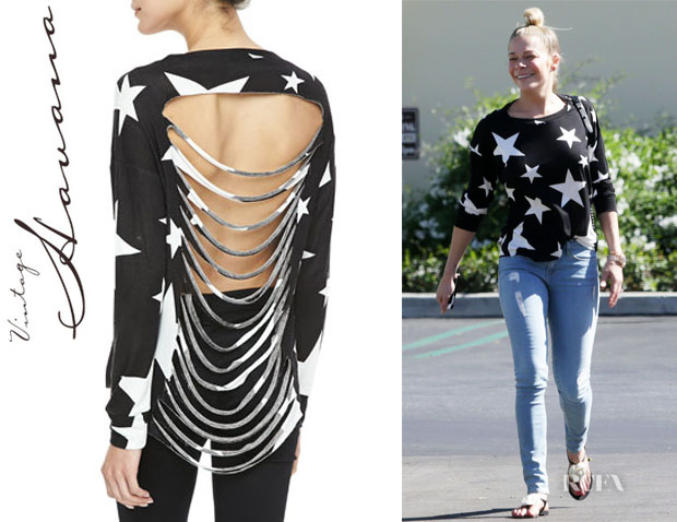 LeAnn Rimes' Vintage Havana Shredded-Back Stars Sweater111