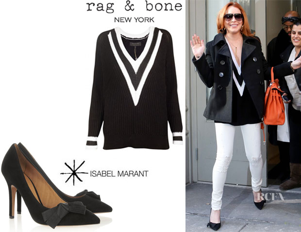 Lindsay Lohan's Rag & Bone 'Talia' V-Neck Sweater And Isabel Marant 'Poppy' Pumps