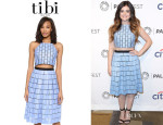 Lucy Hale's Tibi Raffia Patchwork Crop Top And Tibi Raffia Patchwork Party Skirt