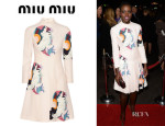 Lupita Nyong'o's Miu Miu Printed Cady Dress