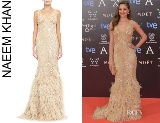 Michelle Jenner's Naeem Khan Sleeveless Embroidered Feather Skirt Gown