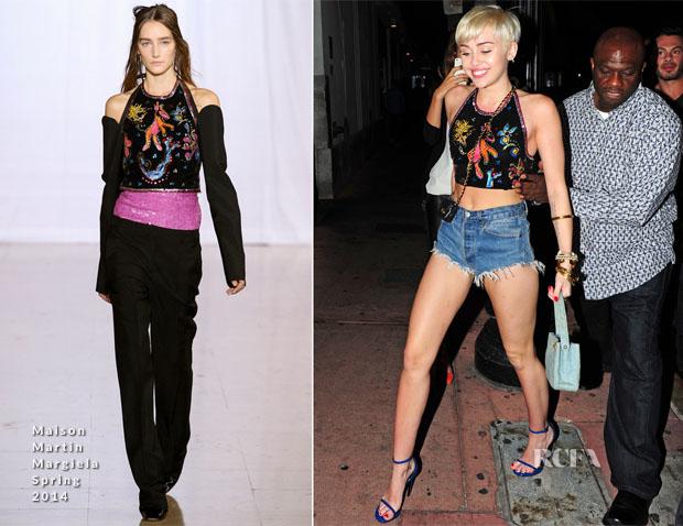 b12a5b6a3b9 Miley Cyrus In Maison Martin Margiela - Cameo Nightclub - Red Carpet ...