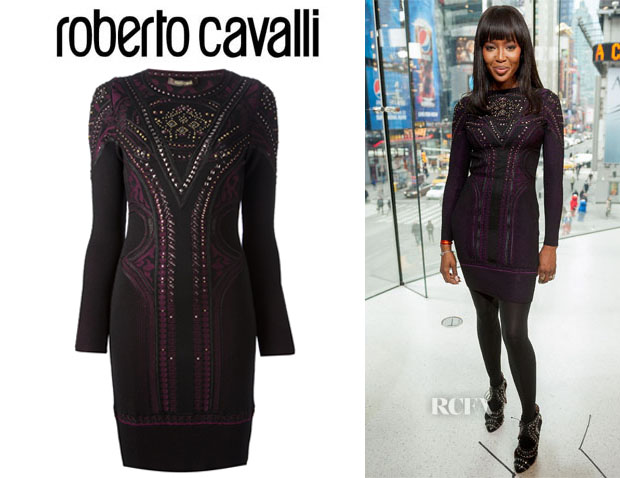 Naomi Campbell's Roberto Cavalli Studded Knit Dress