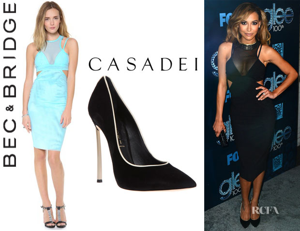 Naya Rivera's Bec & Bridge 'Kathy' Mesh Body Dress And Casadei Contrast Stiletto Pumps