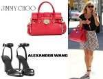Reese Witherspoon's Jimmy Choo 'Rosalie' Leather Satchel And Alexander Wang 'Antonia' Sandals