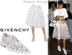 Rihanna's Simone Rocha Embellished Plastic Skirt And Givenchy Studded Macramé Lace Oxfords