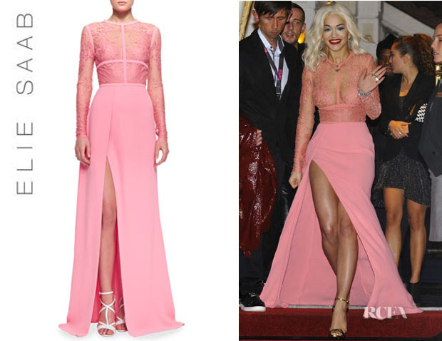 Rita Ora's Elie Saab Lace-Top Slit Long-Sleeve Gown