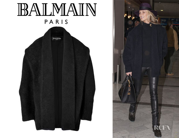 Rosie Huntington-Whiteley's Balmain Angora-Blend Cocoon Coat