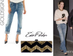 Rosie Huntington-Whiteley's Goldsign 'Mr. Right' Ripped Jeans And Edie Parker 'Flavia' Box Clutch