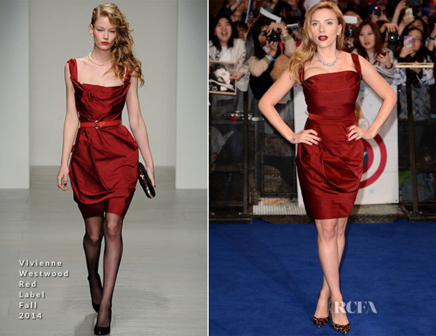 Scarlett Johansson In Vivienne Westwood Red Label - 'Captain America The Winter Soldier' London Premiere