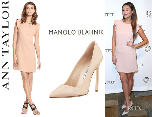 Shay Mitchell's Ann Taylor Tall Flutter Panel Dress And Manolo Blahnik 'BB' Pumps