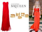 Sienna Miller's Alexander McQueen Strapless Gown And Alexander McQueen Set Of Five Gold-Tone Cuffs