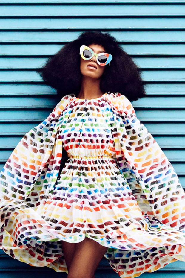 Chanel dress, Jeremy Scott by Linda Farrow sunglasses